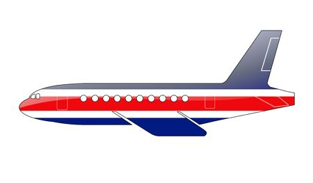 The Costa Rica flag painted on the silhouette of a aircraft. glossy illustration