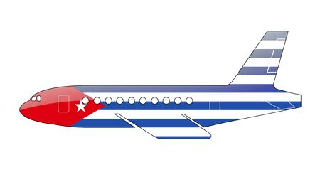 the cuban: The Cuban flag painted on the silhouette of a aircraft. glossy illustration Stock Photo
