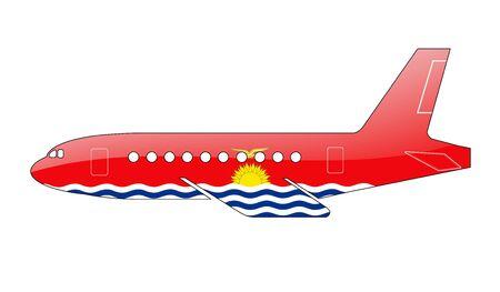kiribati: The Kiribati flag painted on the silhouette of a aircraft. glossy illustration Stock Photo