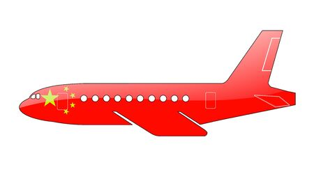 approach: The Chinese flag painted on the silhouette of a aircraft. glossy illustration Stock Photo