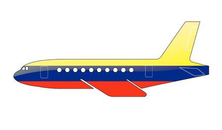 approach: The Colombian flag painted on the silhouette of a aircraft. glossy illustration Stock Photo