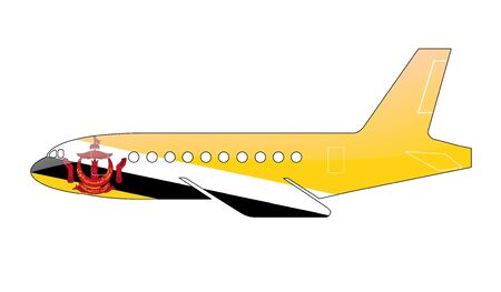brunei: The Brunei Flag painted on the silhouette of a aircraft. glossy illustration