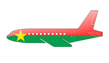burkina faso: The Burkina Faso flag painted on the silhouette of a aircraft. glossy illustration