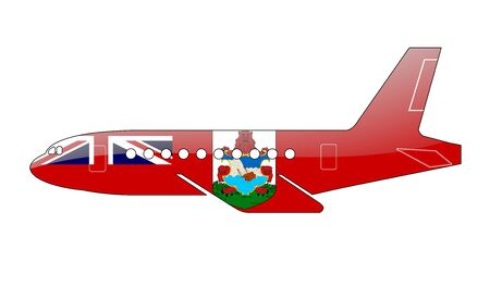 bermuda: The Bermuda Islands flag painted on the silhouette of a aircraft. glossy illustration