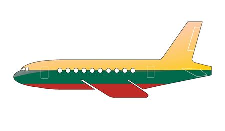 approach: The Lithuanian flag painted on the silhouette of a aircraft. glossy illustration