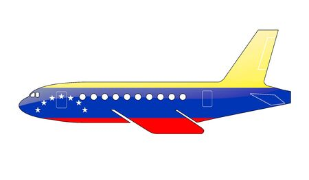 approach: The Venezuelan flag painted on the silhouette of a aircraft. glossy illustration Stock Photo