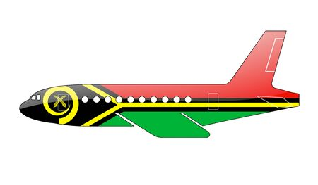 vanuatu: The Vanuatu flag painted on the silhouette of a aircraft. glossy illustration