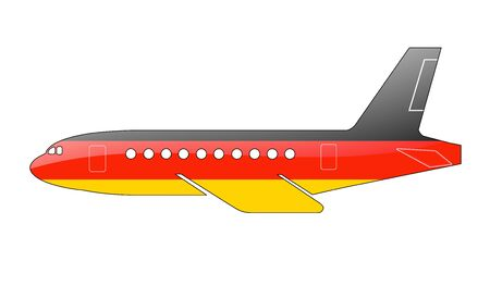 approach: The German flag painted on the silhouette of a aircraft. glossy illustration