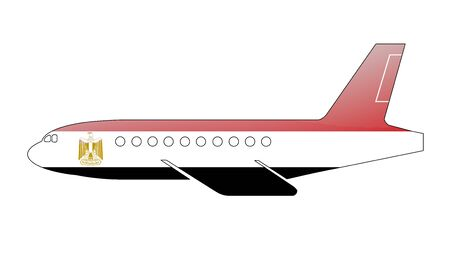 The Egyptian flag painted on the silhouette of a aircraft. glossy illustration illustration