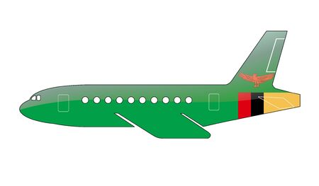 zambian: The Zambian flag painted on the silhouette of a aircraft. glossy illustration Stock Photo