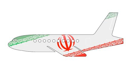 approach: The Iranian flag painted on the silhouette of a aircraft. glossy illustration