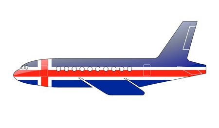 icelandic flag: La bandera de Islandia pintado en la silueta de un avi�n. ilustraci�n brillante