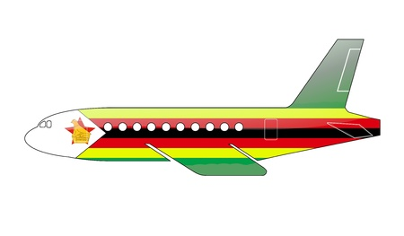 approach: The Zimbabwe flag painted on the silhouette of a aircraft. glossy illustration Stock Photo