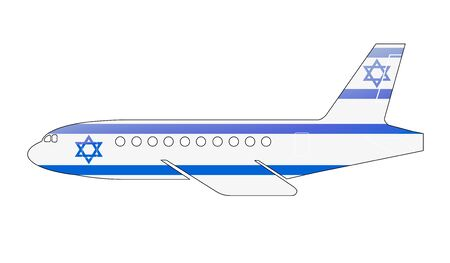approach: The Israeli flag painted on the silhouette of a aircraft. glossy illustration Stock Photo