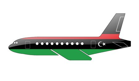 libyan: The Libyan flag painted on the silhouette of a aircraft. glossy illustration Stock Photo