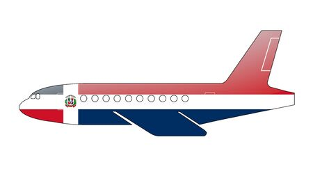 approach: The Dominican Republic flag painted on the silhouette of a aircraft. glossy illustration Stock Photo