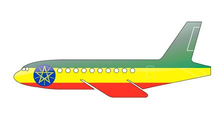 The Ethiopia flag painted on the silhouette of a aircraft. glossy illustration illustration