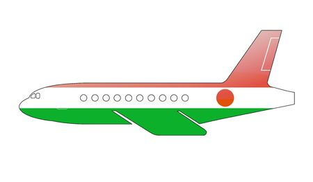 niger: The Niger flag painted on the silhouette of a aircraft. glossy illustration