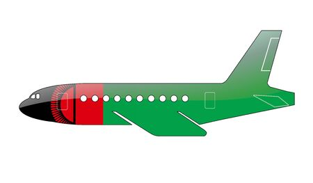 malawi flag: The Malawi flag painted on the silhouette of a aircraft. glossy illustration Stock Photo