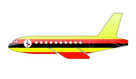The Uganda flag painted on the silhouette of a aircraft. glossy illustration illustration