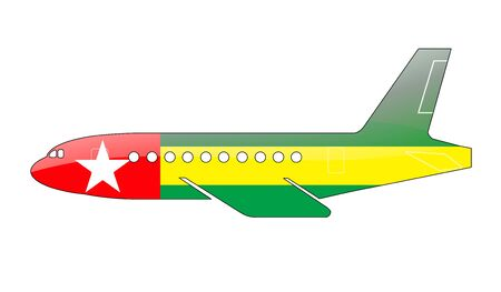 togo: The Togo flag painted on the silhouette of a aircraft. glossy illustration Stock Photo