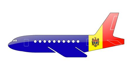 moldovan: The Moldovan flag painted on the silhouette of a aircraft. glossy illustration Stock Photo