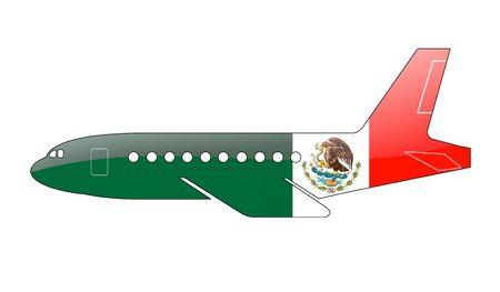 approach: The Mexican flag painted on the silhouette of a aircraft. glossy illustration