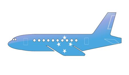 approach: The Micronesia flag painted on the silhouette of a aircraft. glossy illustration Stock Photo