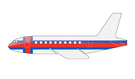 approach: The Faroe Islands flag painted on the silhouette of a aircraft. glossy illustration