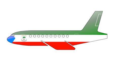 La bandera de Guinea Ecuatorial pintado en la silueta de un avión. ilustración brillante