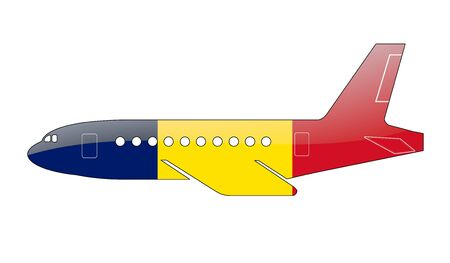 chad: The Chad flag painted on the silhouette of a aircraft. glossy illustration