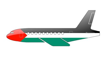palestinian: The Palestinian flag painted on the silhouette of a aircraft. glossy illustration Stock Photo