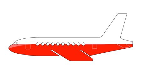 approach: The Polish flag painted on the silhouette of a aircraft. glossy illustration