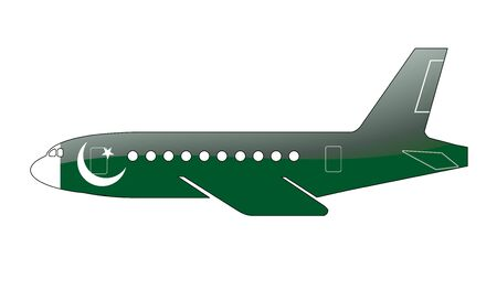 approach: The Pakistani flag painted on the silhouette of a aircraft. glossy illustration Stock Photo
