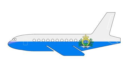 marino: The San Marino flag painted on the silhouette of a aircraft. glossy illustration