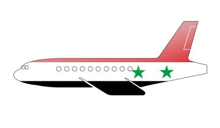 approach: The Syria flag painted on the silhouette of a aircraft. glossy illustration