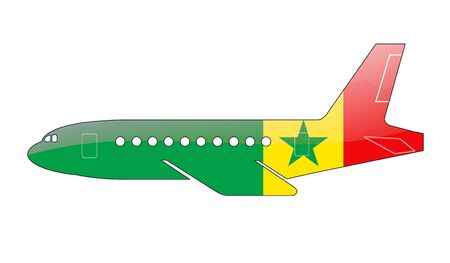 approach: The Senegal flag painted on the silhouette of a aircraft. glossy illustration