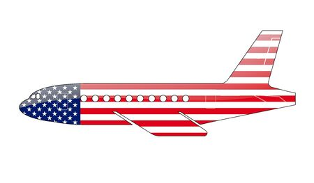 The USA flag painted on the silhouette of a aircraft. glossy illustration illustration