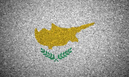 The Cypriot flag painted on a cork board. photo