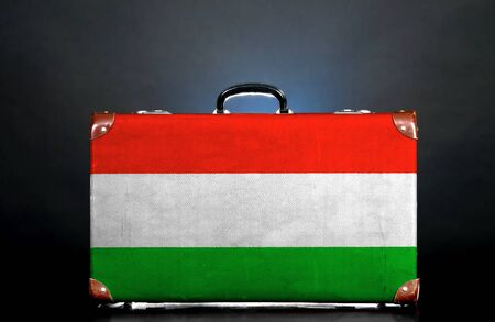The Hungarian flag on a suitcase for travel. photo