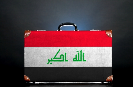 iraqi: The Iraqi flag on a suitcase for travel.
