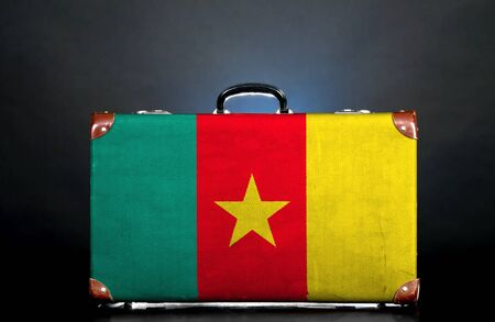 cameroonian: The Cameroonian flag on a suitcase for travel.