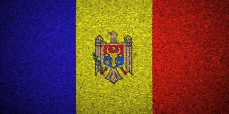 moldovan: The Moldovan flag painted on a cork board.