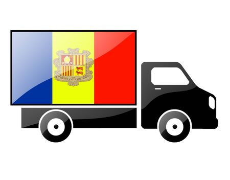 portage: The Andorran flag painted on the silhouette of a truck. glossy illustration