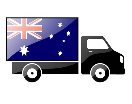 inland: The Australian flag painted on the silhouette of a truck. glossy illustration
