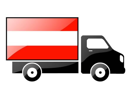 The Austrian flag painted on the silhouette of a truck. glossy illustration Stock Illustration - 15435345