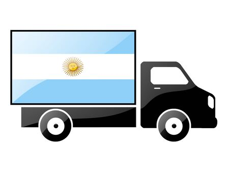 carting: The Argentine flag painted on the silhouette of a truck. glossy illustration Stock Photo