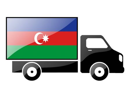 The Azerbaijani flag painted on the silhouette of a truck. glossy illustration Stock Illustration - 15435948