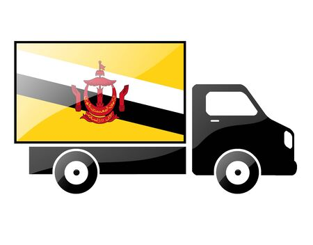 conveyance: The Brunei Flag painted on the silhouette of a truck. glossy illustration