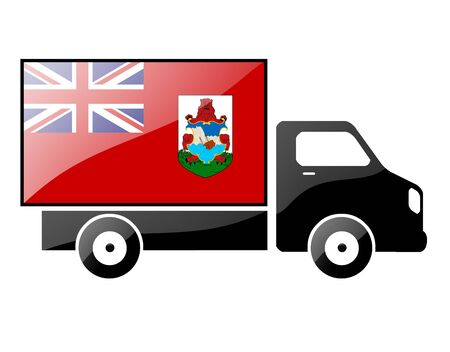 bermuda: The Bermuda Islands flag painted on the silhouette of a truck. glossy illustration Stock Photo